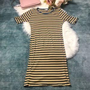 LulaRoe Julia Yellow & Blue Ribbed Dress Size L